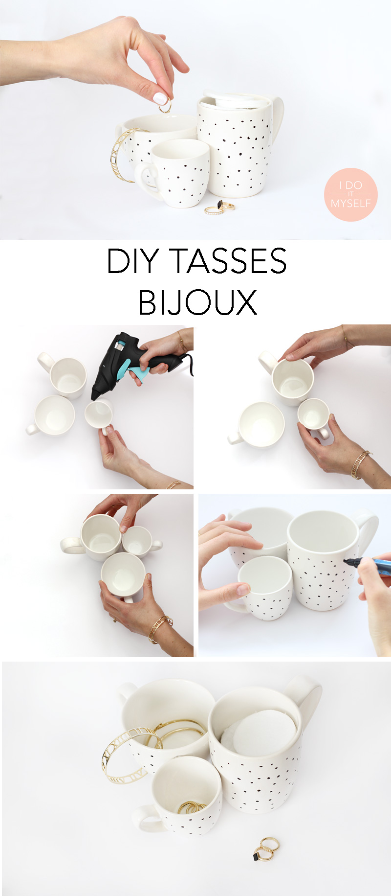 diy 58 tasses porte bijoux i do it myself. Black Bedroom Furniture Sets. Home Design Ideas