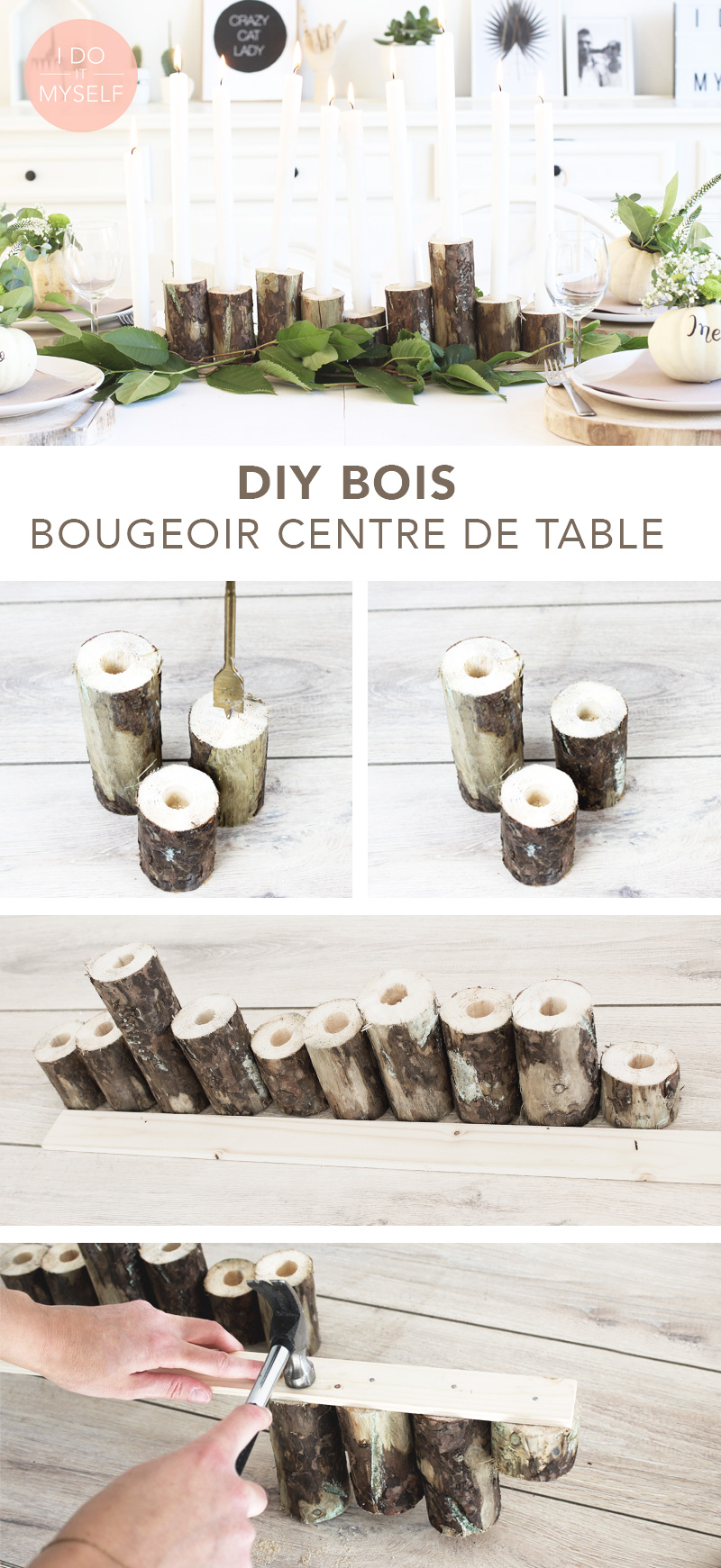 Centre de table en bois